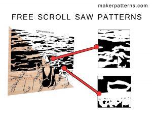 free scroll saw patterns boy fishing on dock